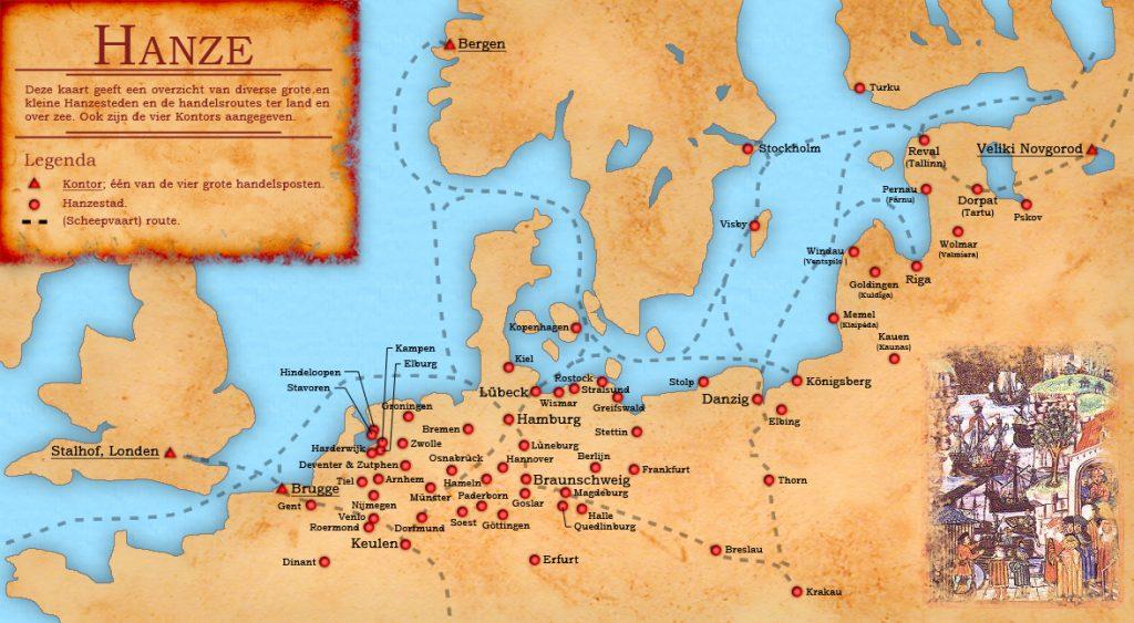 Kaart Hanzesteden